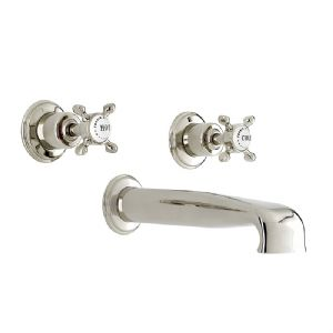3581 Perrin & Rowe Three Hole Wall Mounted Bath Tap Set With Low Profile Spout Crosshead